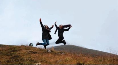 Robynn Smith and Isa Moe jump for joy in Olafsfjordur_ Iceland Deanna Ng