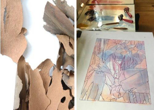 Tree bark photograph used in Torso with Hellebore (Left). Monotype plate for Torso with Hellebore (Right).
