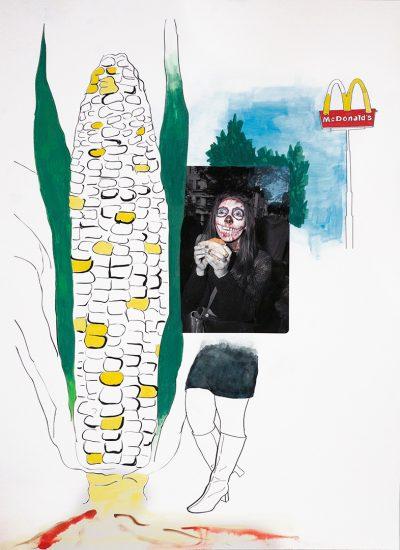 "Leah Oates GMO Gouache on digital pigment print 13""x19"" 2015"